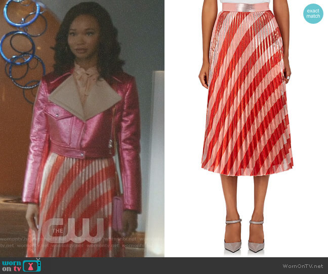 Pleated Striped Lame Midi-Skirt by Off-White c/o Virgil Abloh worn by Monica Colby (Wakeema Hollis) on Dynasty