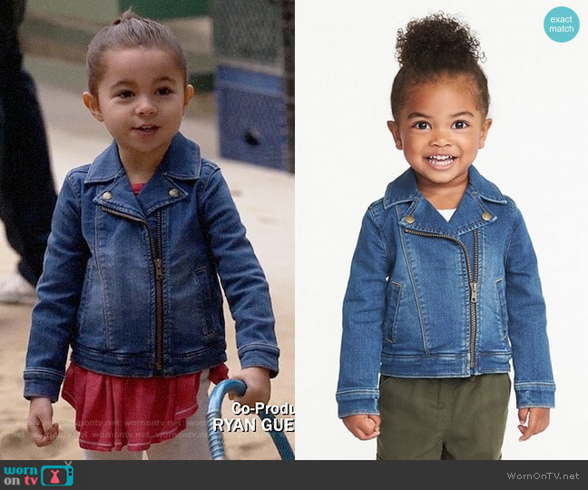 Old Navy Toddler Girls Denim-Knit Moto Jacket worn by Ruth (Danielle Rockoff) on New Girl