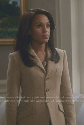 Olivia's beige herringbone blazer on Scandal
