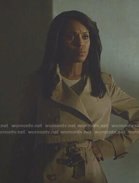 Olivia's beige short trench coat on Scandal