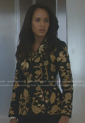 Olivia's black embroidered blazer on Scandal