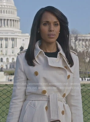 Olivia's white trench coat on Scandal