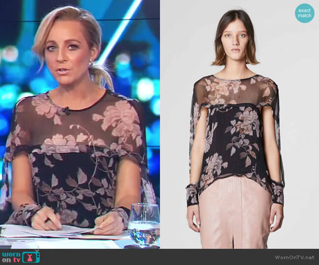 Jagger Cape Sleeve Top in Bohem Floral by Once Was worn by Carrie Bickmore (Carrie Bickmore) on The Project