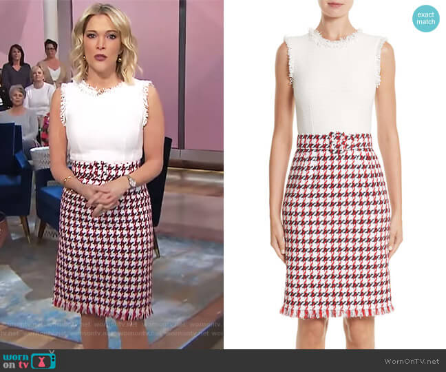 Bicolor Houndstooth Tweed Dress by Oscar De La Renta worn by Megyn Kelly  on Today
