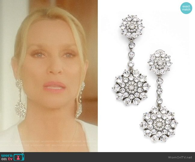 'Classic Jeweled' Swarovski Crystal Drop Earrings by Oscar de la Renta worn by Nicollette Sheridan on Dynasty