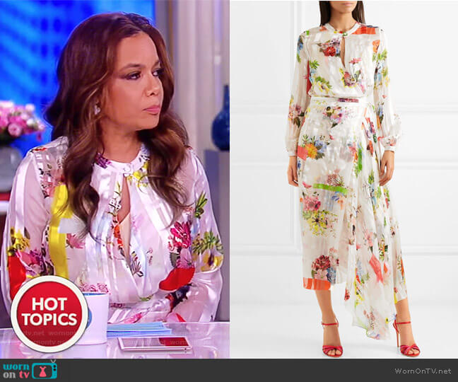 Patel asymmetric floral-print silk-jacquard dress by Preen by Thornton Bregazzi worn by Sunny Hostin on The View