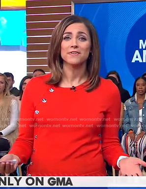 Paula's red button embellished top on Good Morning America
