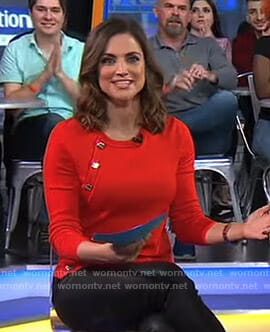 Paula Faris's red button embellished top on Good Morning America