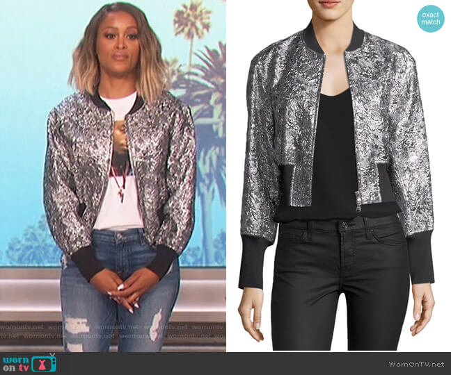 Metallic Floral Burnout Bomber Jacket by Phillip Lim 3.1 worn by Eve  on The Talk