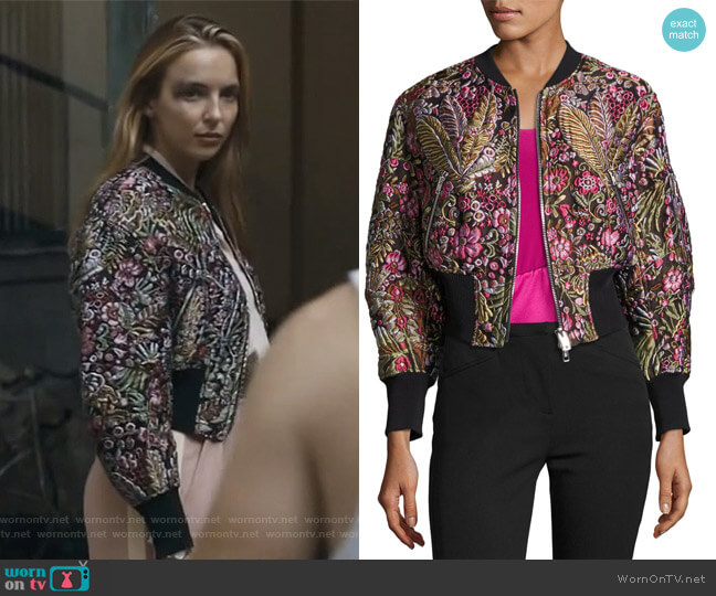 Floral Jacquard Cloqué Bomber Jacket by 3.1 Phillip Lim worn by Villanelle (Jodie Comer) on Killing Eve