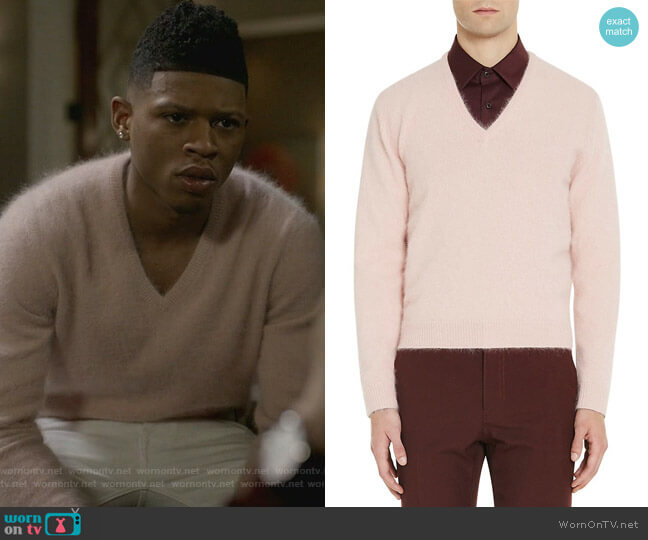 Angora-Blend V-Neck Sweater by Prada worn by Bryshere Y. Gray on Empire