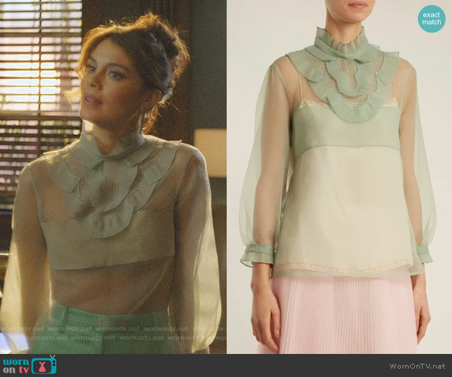 Ruffle-Trimmed Organza Top by Prada worn by Nathalie Kelley on Dynasty