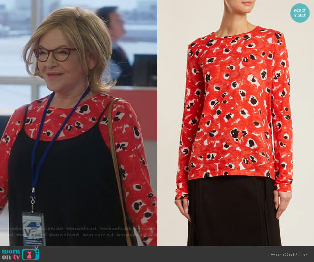 Floral Cotton Jersey Long Sleeve T-Shirt by Proenza Schouler worn by Joan Short (Dianne Wiest) on Life in Pieces
