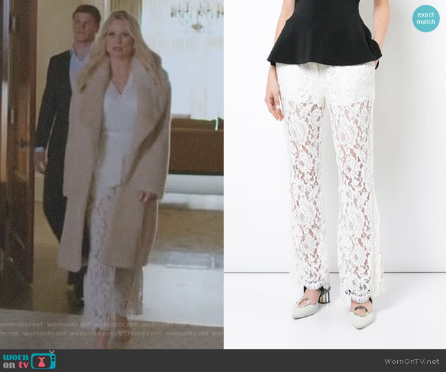 Flared Trousers by Proenza Schouler worn by Alexis Carrington (Nicollette Sheridan) on Dynasty