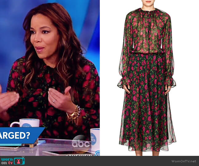 Kate Floral Silk Midi-Dress by Raquel Diniz worn by Sunny Hostin  on The View
