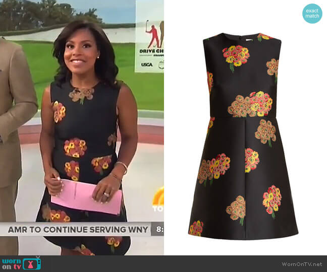 Floral-Brocade Mini Dress by RED Valentino worn by Sheinelle Jones on Today