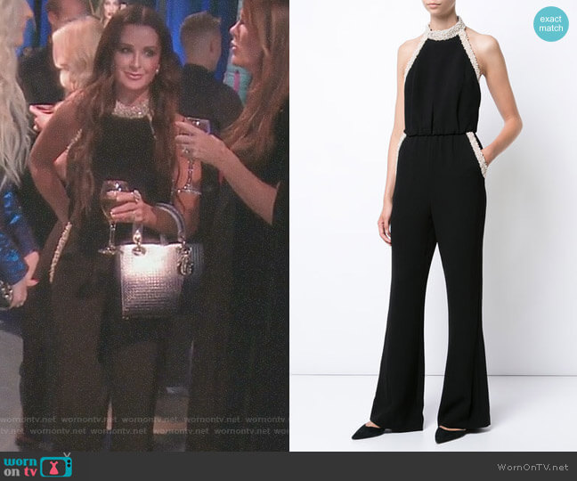 Pearl Trim Halter Neck Jumpsuit by Rachel Zoe worn by Kyle Richards  on The Real Housewives of Beverly Hills