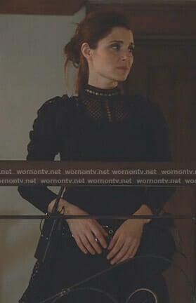 Rachel's black ruffled eyelet lace dress on UnReal