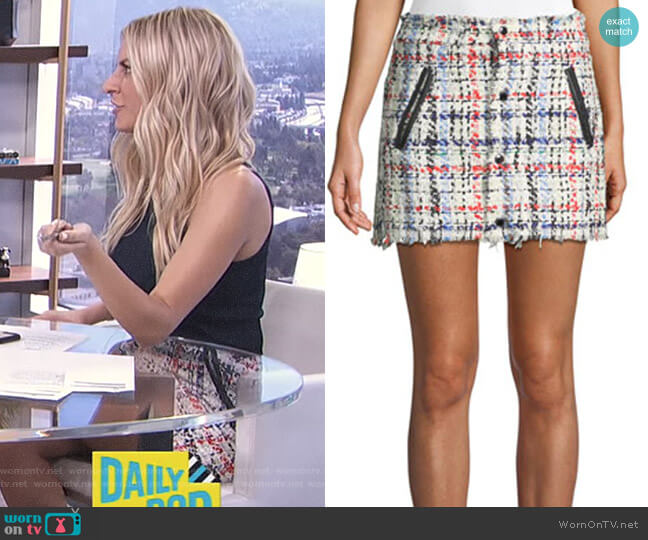 Otis Snap-Front Tweed Mini Skirt by Rag & Bone worn by Morgan Stewart  on E! News