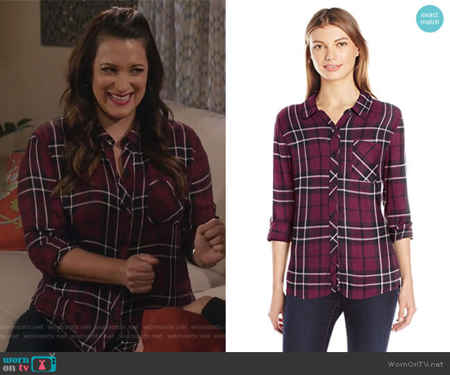 Plaid Hunter Shirt by Rails worn by Colleen Brandon-Ortega (Angelique Cabral) on Life in Pieces