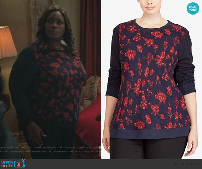 Plus Size Floral-Print Sweatshirt by Ralph Lauren worn by Ruby Hill (Retta) on Good Girls