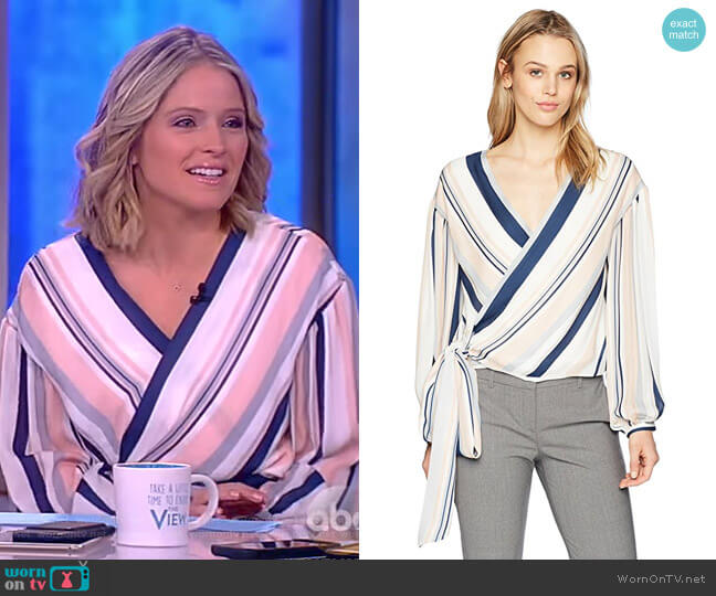 Daya Blush Striped Wrap Blouse by Ramy Brook worn by Sara Haines on The View
