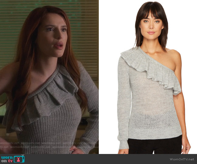 One Shoulder Ruffle Alpaca Pullover by Rebecca Taylor worn by Paige Townsen (Bella Thorne) on Famous in Love