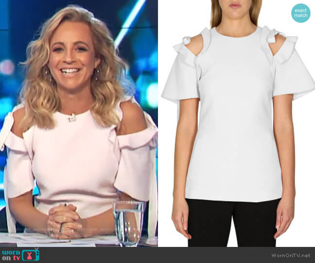 Femmes Top by Rebecca Vallance worn by Carrie Bickmore on The Project