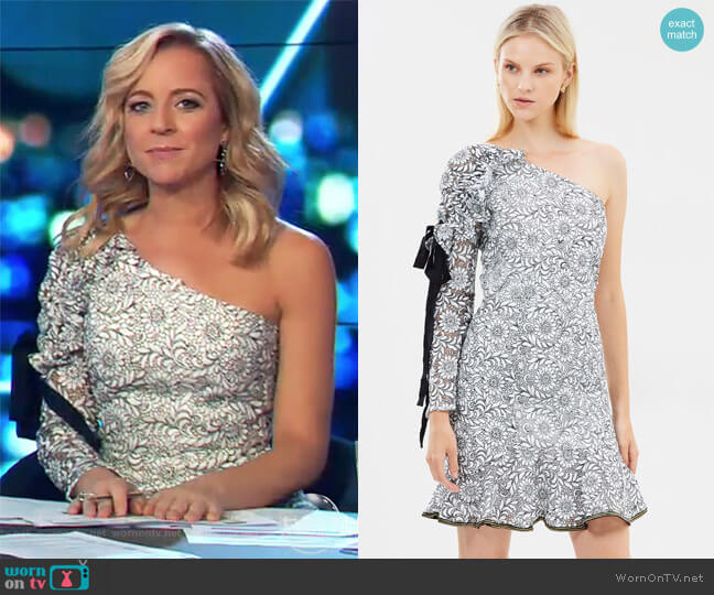 Sofia One Shoulder Dress by Rebecca Vallance worn by Carrie Bickmore on The Project