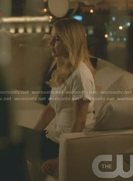 Rebekah's white corset t-shirt on The Originals