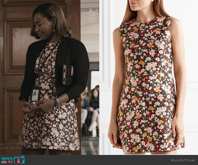 Chelsea floral-jacquard mini dress by Red Valentino worn by Patina Miller on Madam Secretary
