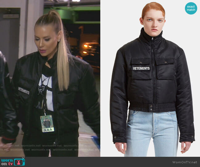 Reversible Police Jacket by Vetements worn by Dorit Kemsley  on The Real Housewives of Beverly Hills