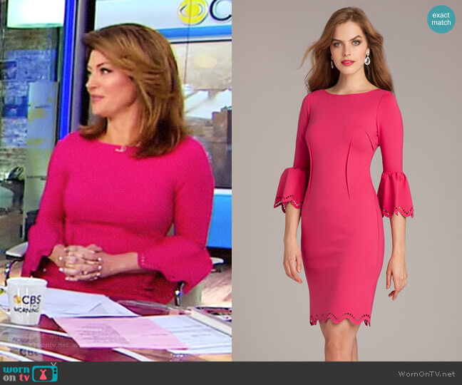 Laser-Cut Sheath Dress by Teri Jon worn by Norah O'Donnell  on CBS This Morning