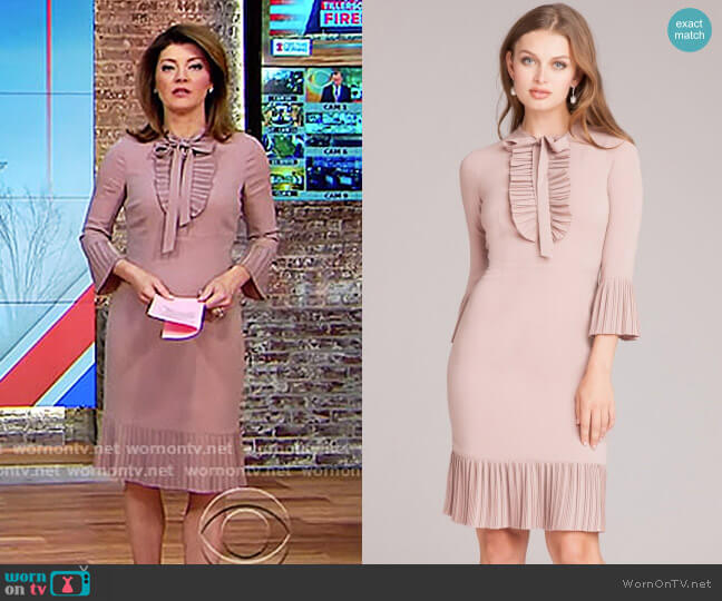 Tie-Neck Dress with Pleated Trim by Teri Jon worn by Norah O'Donnell (Norah O'Donnell) on CBS This Morning