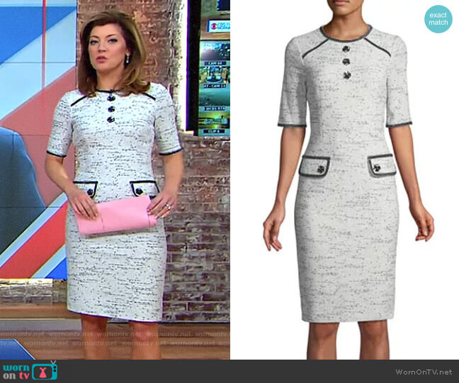 Tweed Stretch Boucle Knee-Length Dress by Rickie Freeman for Teri Jon worn by Norah O'Donnell  on CBS This Morning