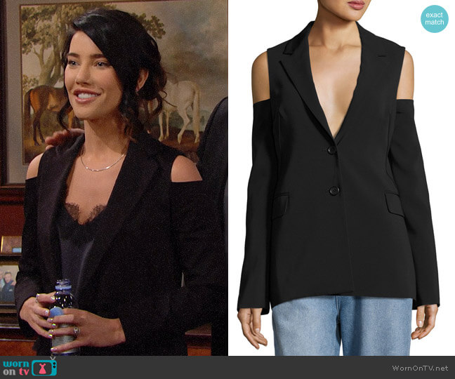 Robert Rodriguez Cold-Shoulder Two-Button Blazer  worn by Steffy Forrester (Jacqueline MacInnes Wood) on The Bold & the Beautiful