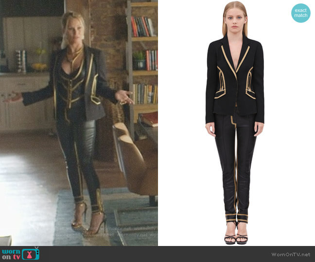 Jacket in Stretch Viscose Cady and Zipper Cuff Pant by Roberto Cavalli worn by Alexis Carrington (Elaine Hendrix) on Dynasty