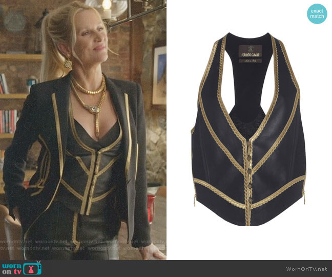 Cropped Vest by Roberto Cavalli worn by Alexis Carrington (Elaine Hendrix) on Dynasty