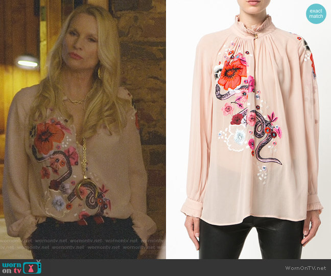 Embroidered floral top by Roberto Cavalli worn by Nicollette Sheridan on Dynasty