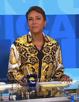 Robin's black and yellow printed shirt on Good Morning America