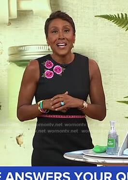 Robin's black floral embroidered sleeveless dress on Good Morning America