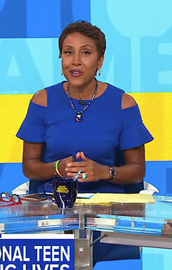 Robin's blue cold-shoulder dress with ruffled sleeves on Good Morning America