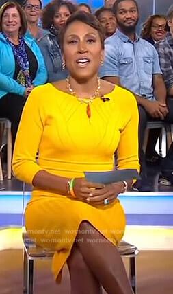 Robin's yellow knit dress on Good Morning America