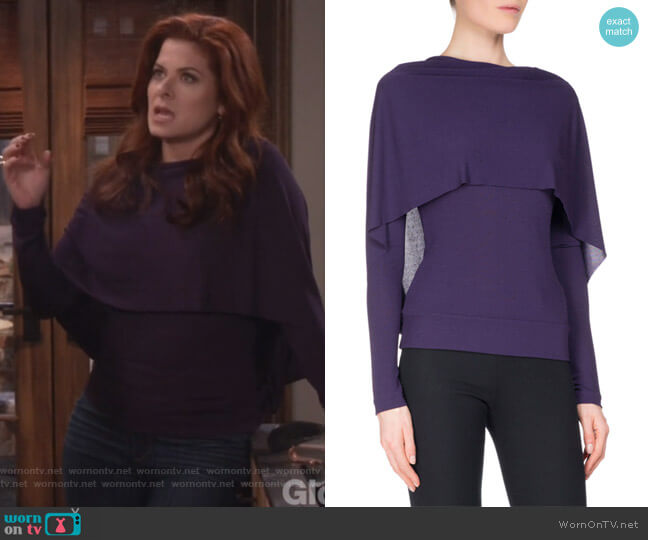 Bagnet Cowl-Neck Long-Sleeve Top by Roland Mouret worn by Grace Adler (Debra Messing) on Will & Grace