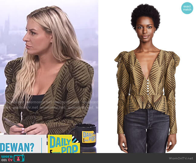 'Dabria' Top by Ronny Kobo worn by Morgan Stewart  on E! News
