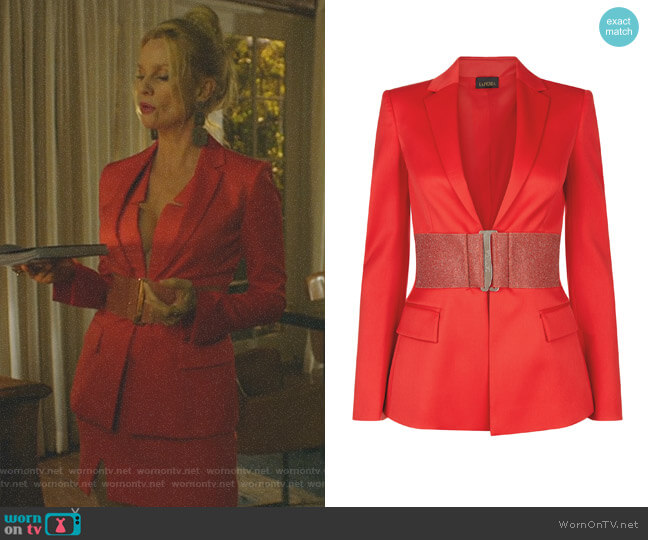 Rubine Virgin Wool Jacket with Swarovski Belt by La Perla worn by Nicollette Sheridan on Dynasty