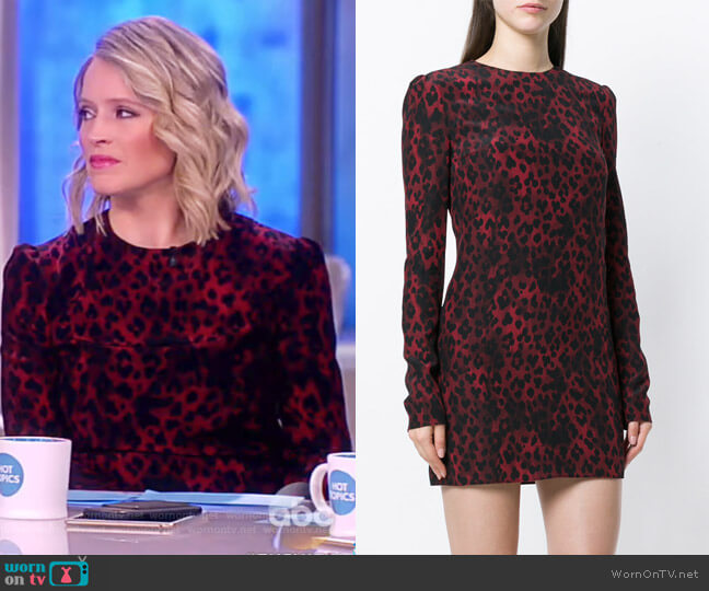 Silk Crêpe de Chine Leopard Print Shift Dress by Saint Laurent worn by Sara Haines (Sara Haines) on The View