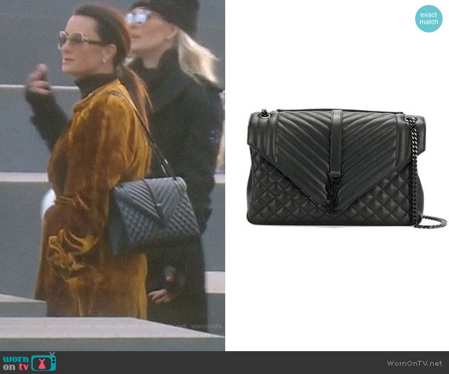 Classic Large Soft Envelope Bag by Saint Laurent worn by Kyle Richards on The Real Housewives of Beverly Hills