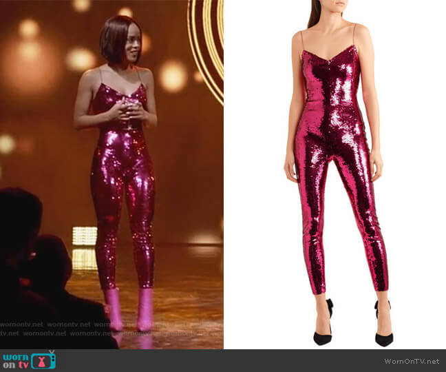 Sequined stretch-mesh jumpsuit by Saint Laurent worn by Serayah McNeill on Empire