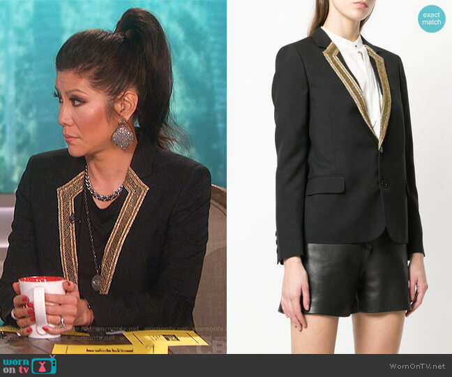 Embroidered-Lapel Blazer by Saint Laurent worn by Julie Chen (Julie Chen) on The Talk